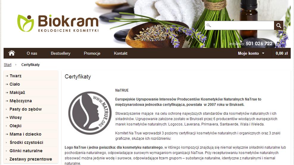 opisy certyfikatów wsklepie internetowym biokram