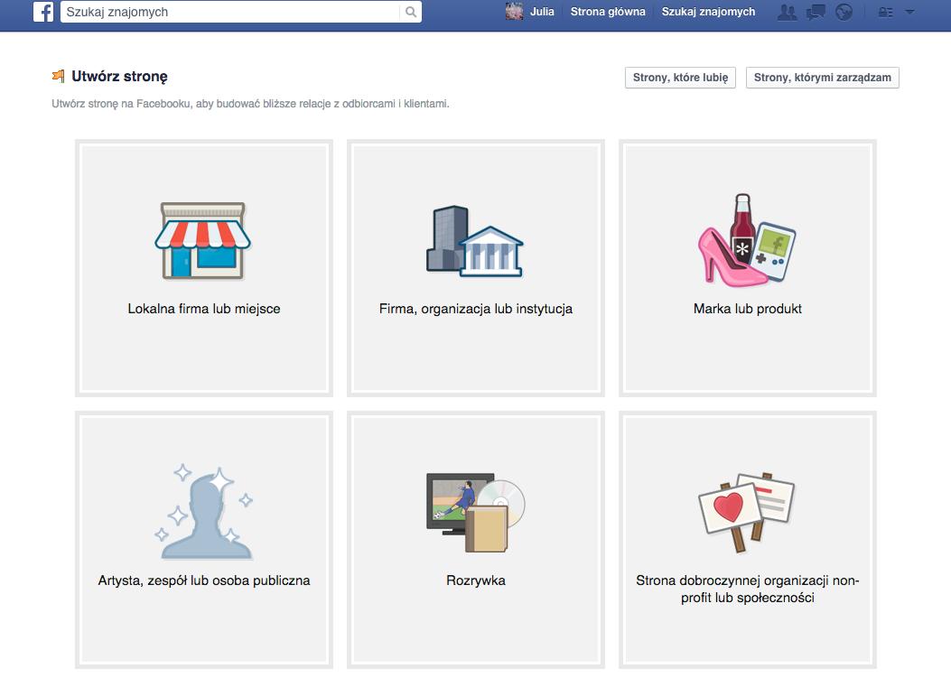 wybór kategorii inazwy strony nafacebooku