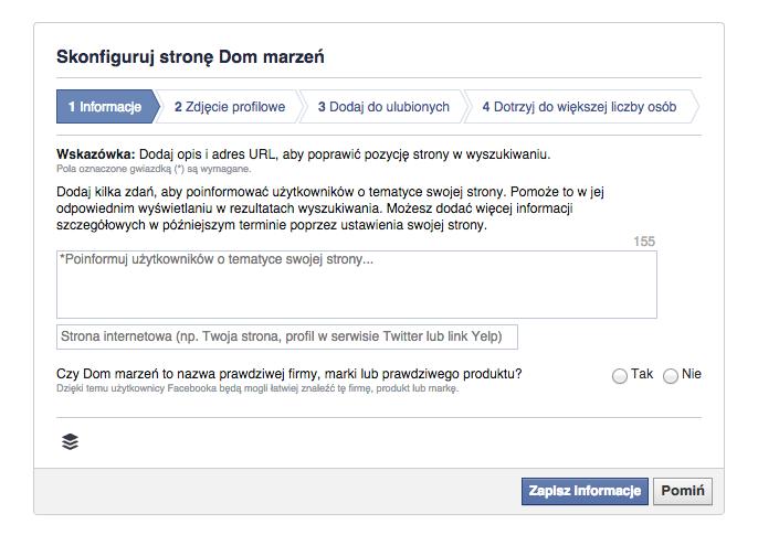 uzupełnienie informacji ozałożonym profilu nafacebooku
