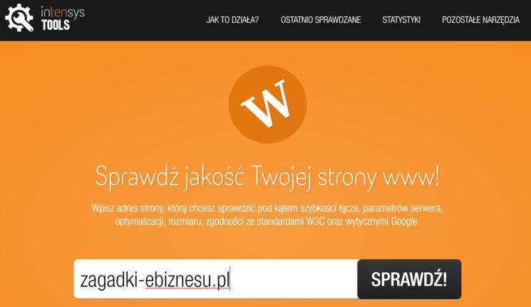 Webspeed Intensys Tool dobadania szybkości witryny