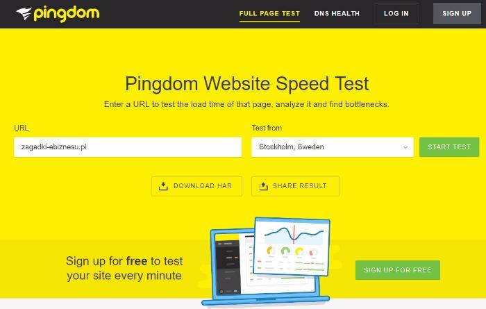 test szybkości strony www pingdom