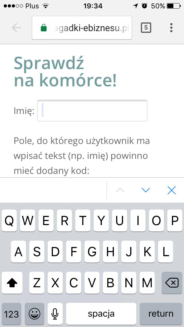użyteczność formularzy - klawiatura - input type text
