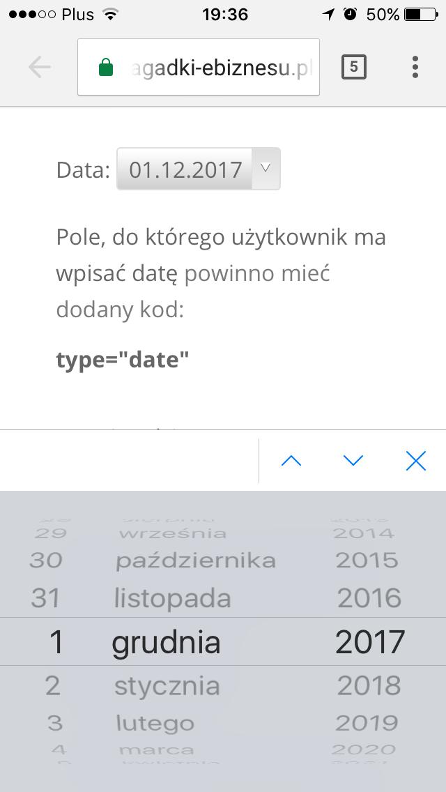 użyteczność formularzy - klawiatura - input type date
