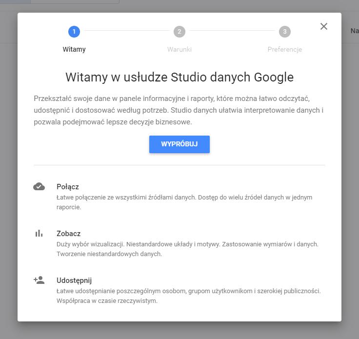 Google Data Studio - krok 1 zakładania konta